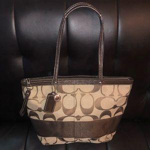 Coach Khaki Signature brown striped tote purse
